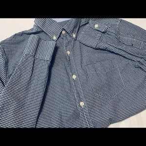 Boy's Button up navy & white shirt. Like new.